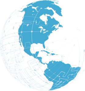 illustration of north and south america in blue with digital lines